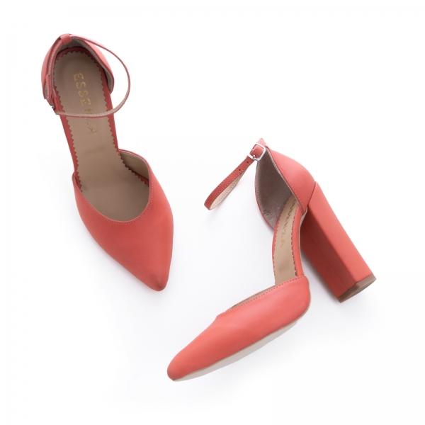 Pantofi din piele naturala de culoare somon 2