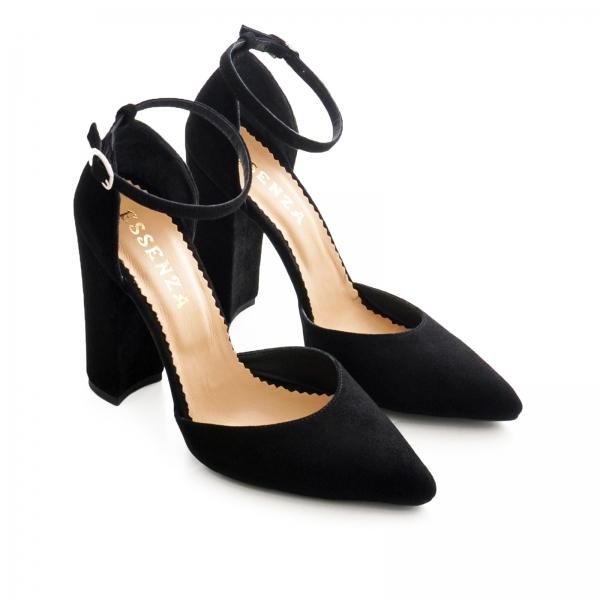 Pantofi cu decupaj interior si exterior. din piele intoarsa neagra 2