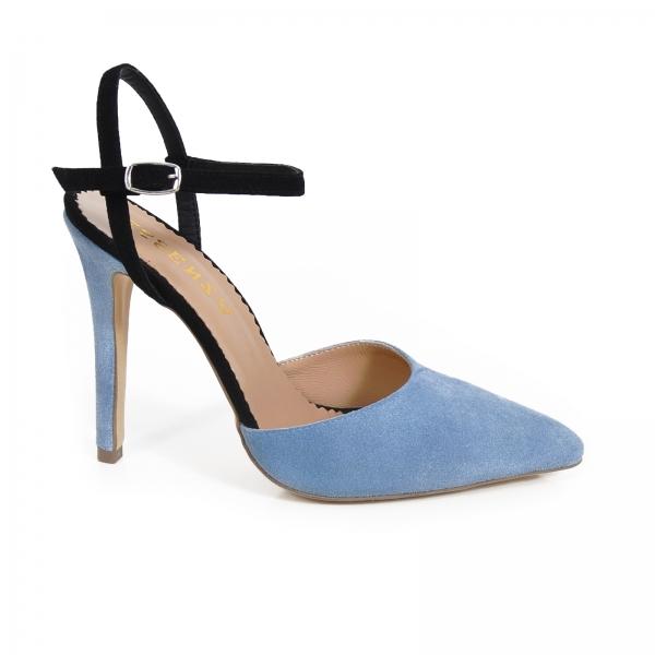 Pantofi stiletto cu barete, din piele intoarsa albastra si neagra 0