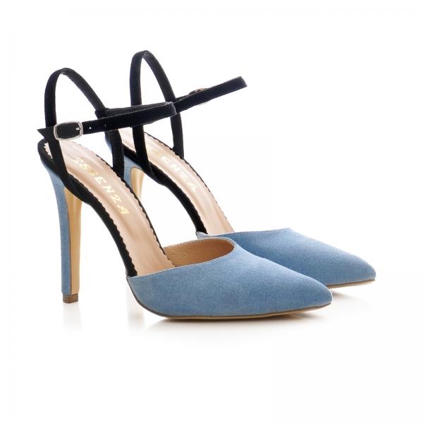 Pantofi stiletto cu barete, din piele intoarsa albastra si neagra 1