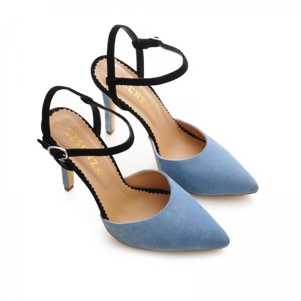 Pantofi stiletto cu barete, din piele intoarsa albastra si neagra 2