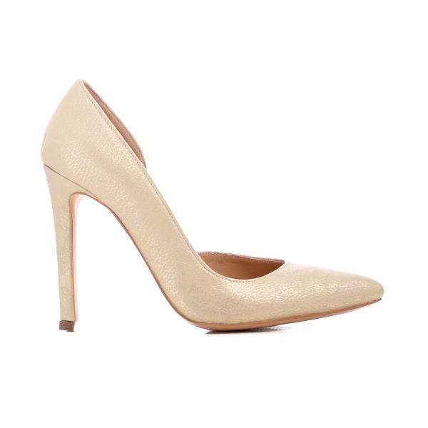 Pantofi stiletto cu decupaj interior, din piele auriu galbuie 0
