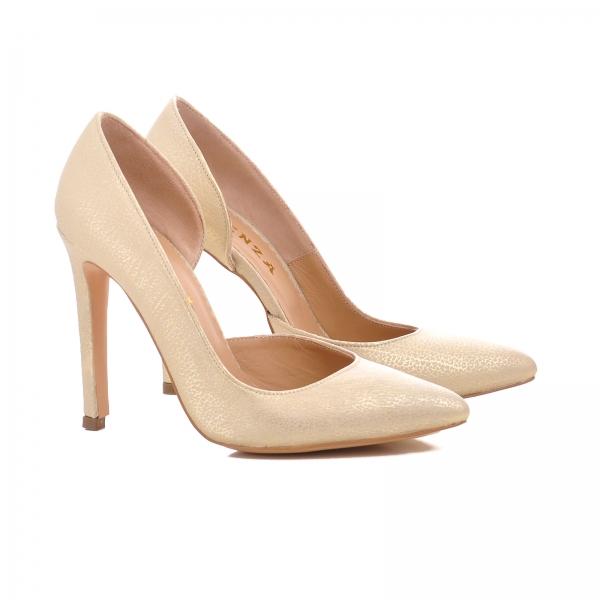 Pantofi stiletto cu decupaj interior, din piele auriu galbuie 1