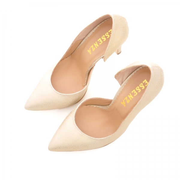 Pantofi stiletto cu decupaj interior, din piele auriu galbuie 2