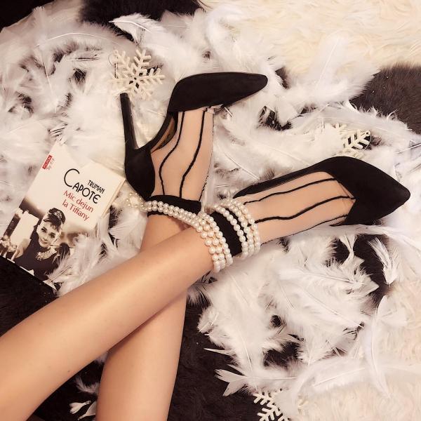 Pantofi stiletto din piele intoarsa neagra 0