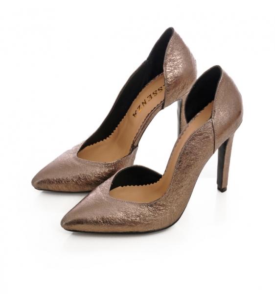 Pantofi stiletto, cu decupaj interior, din piele bronz 1