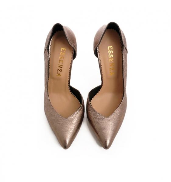 Pantofi stiletto, cu decupaj interior, din piele bronz 2