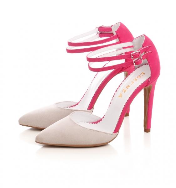 Pantofi stiletto din piele roz si crem [1]