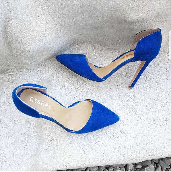 Pantofi stiletto cu decupaj, din piele intoarsa albastra [0]