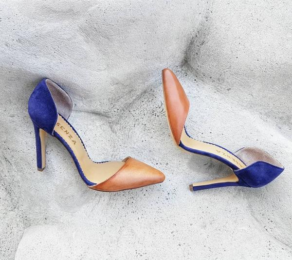 Pantofi stiletto decupati, din piele maron si albastra [0]