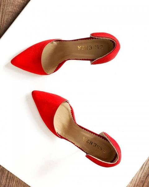 Pantofi Stiletto, din piele intoarsa rosie 0