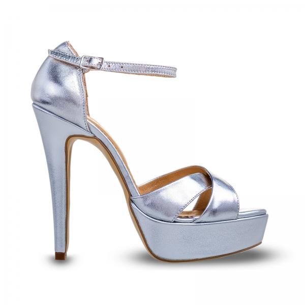 Sandale din piele argintie, cu toc stiletto si platforma 0
