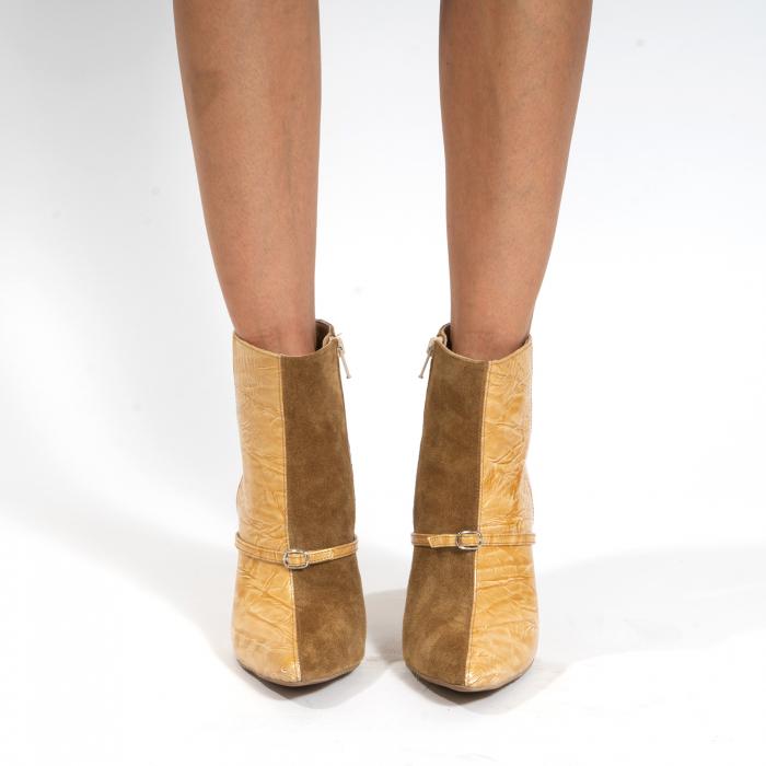 Botine din piele naturala intoarsa maron mustar si piele lacuita camel cu umbre 2