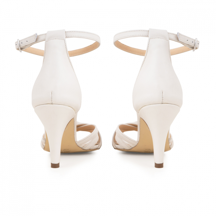 Sandale cu barete, din piele naturala, alb unt. 5