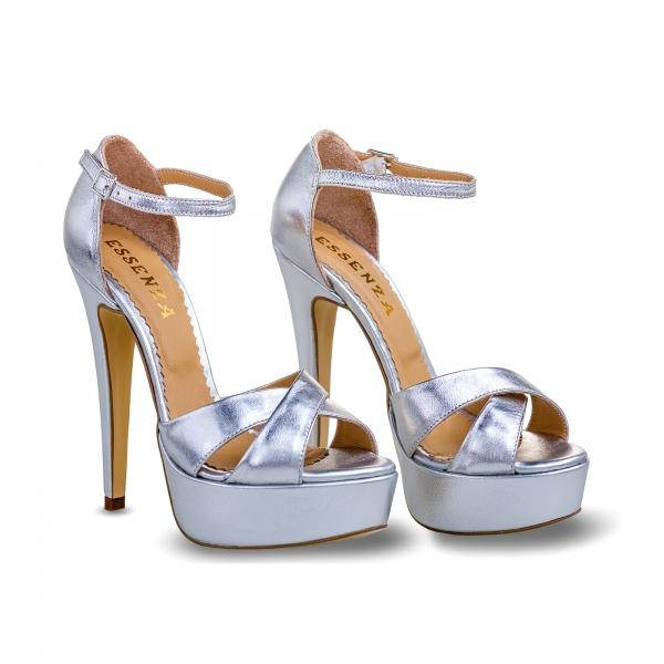 Sandale din piele argintie, cu toc stiletto si platforma 1