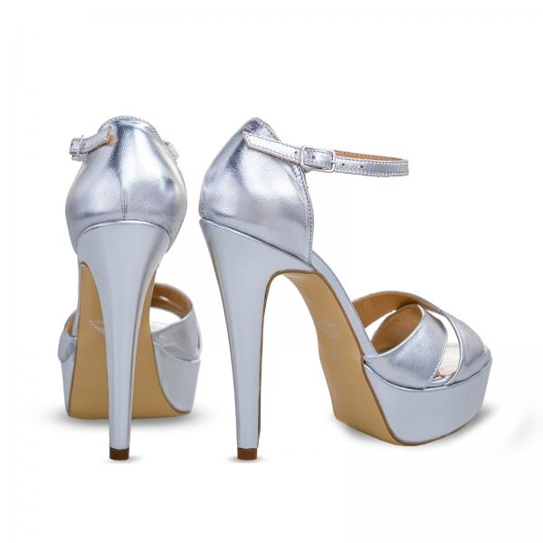 Sandale din piele argintie, cu toc stiletto si platforma 2