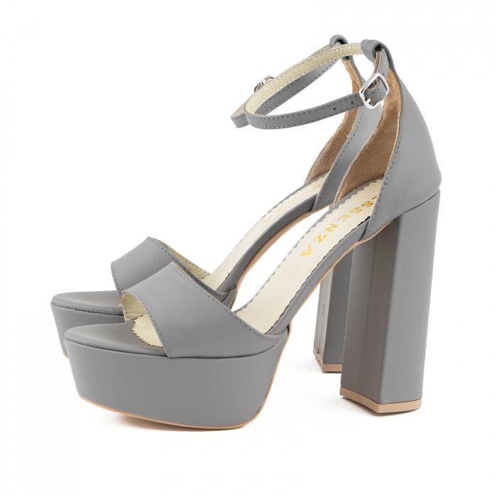 Sandale din piele naturala gri, cu toc gros patrat si platforma [1]