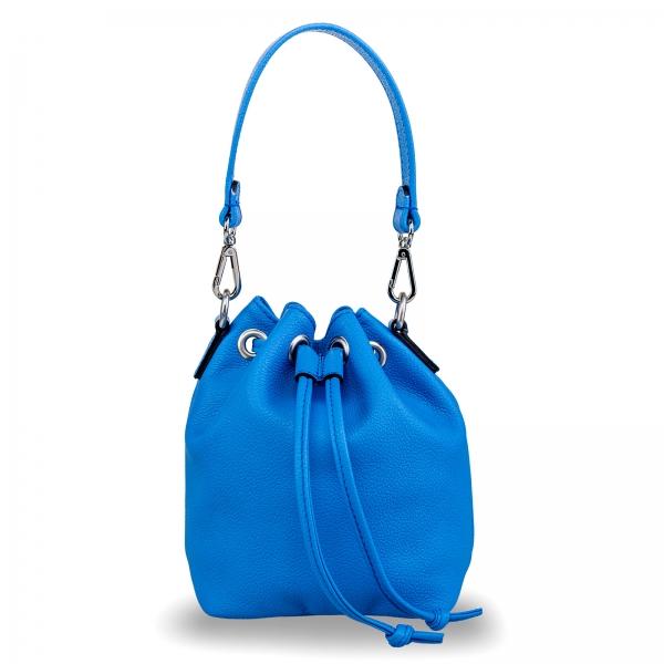 Poseta Kristy mini bucket  din piele naturala albastra 0