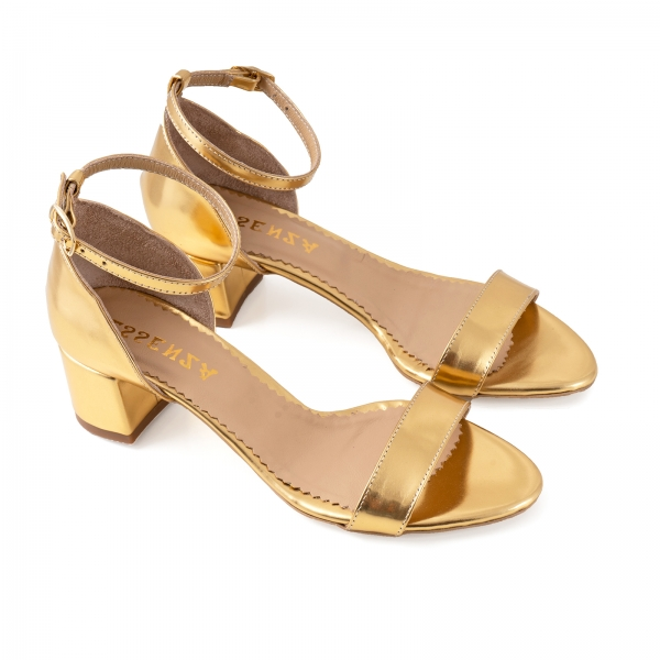Sandale din piele laminata aurie, cu toc gros 1