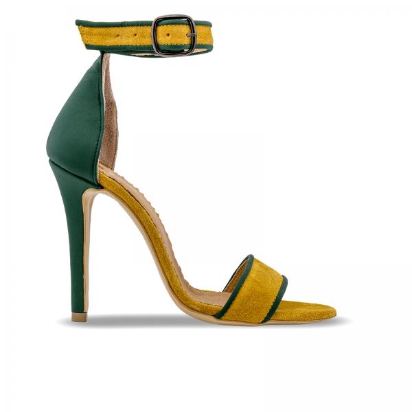 Sandale cu toc stiletto, din piele naturala verde si piele intoarsa galben mustar 0