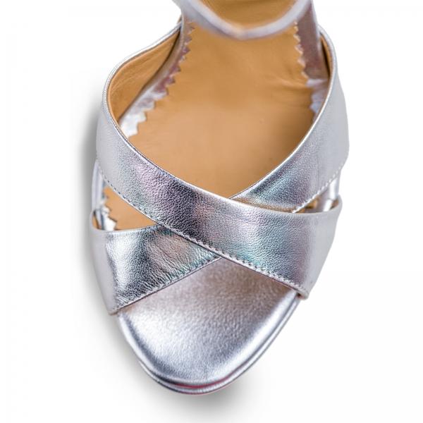 Sandale din piele argintie, cu toc stiletto si platforma 3