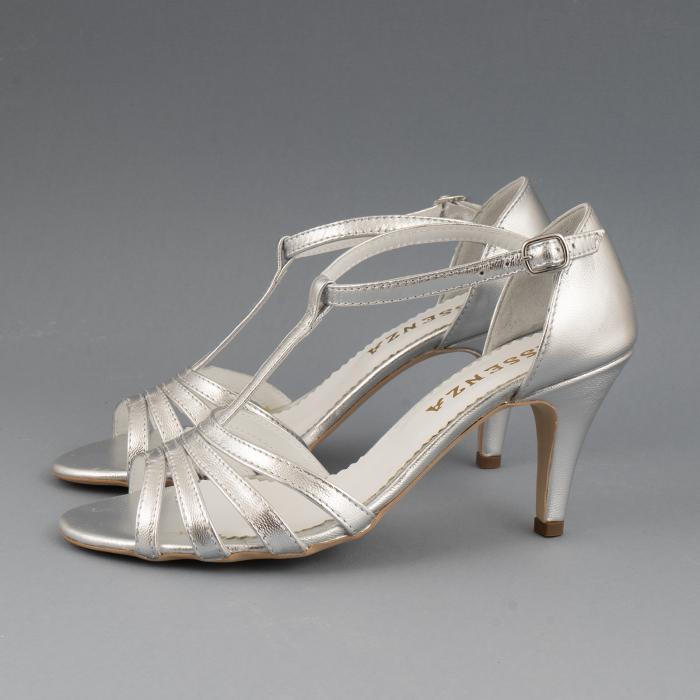 Sandale cu barete, din piele laminata argintie 1