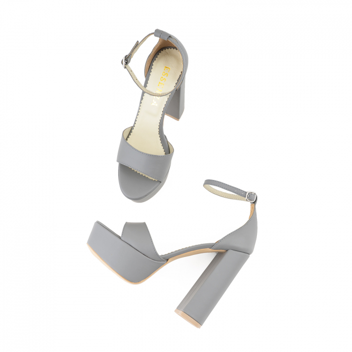 Sandale din piele naturala gri, cu toc gros patrat si platforma [2]