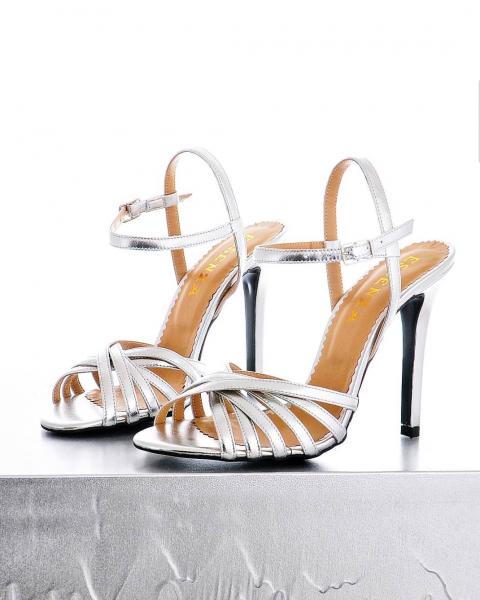 Sandale stiletto cu barete subtiri din piele argintie [0]