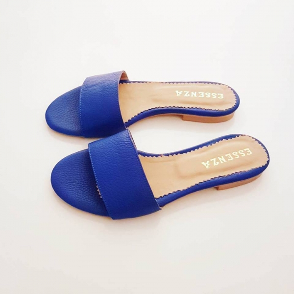 Flip flops din piele naturala albastru intens. 0