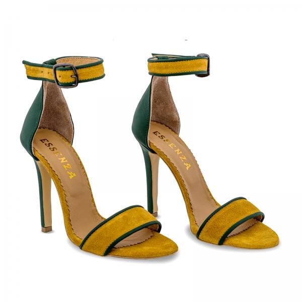 Sandale cu toc stiletto, din piele naturala verde si piele intoarsa galben mustar 1