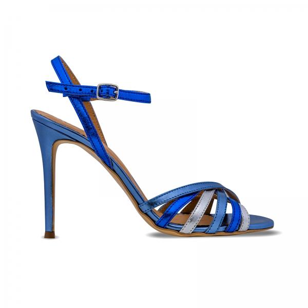 Sandale cu barete, din piele naturala metalizata argintie si albastra 0
