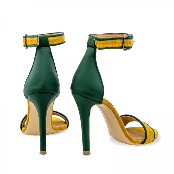 Sandale cu toc stiletto, din piele naturala verde si piele intoarsa galben mustar 2