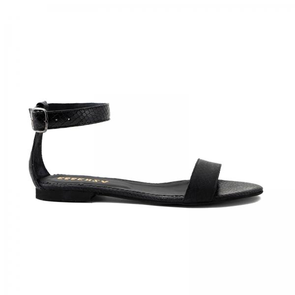 Sandale cu talpa joasa, din piele neagra cu presaj crocodil 0