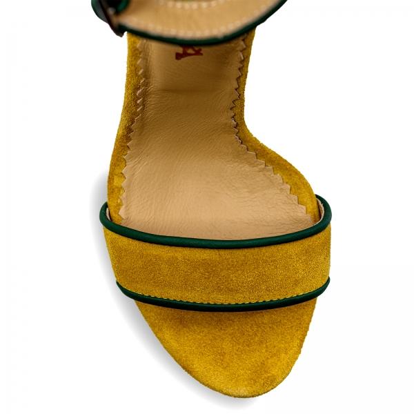 Sandale cu toc stiletto, din piele naturala verde si piele intoarsa galben mustar 3