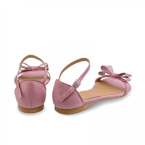 Sandale cu talpa joasa, din piele nappa roz, cu fundite 2