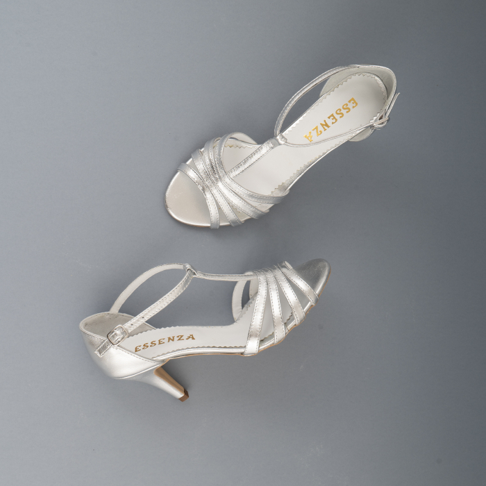 Sandale cu barete, din piele laminata argintie 4