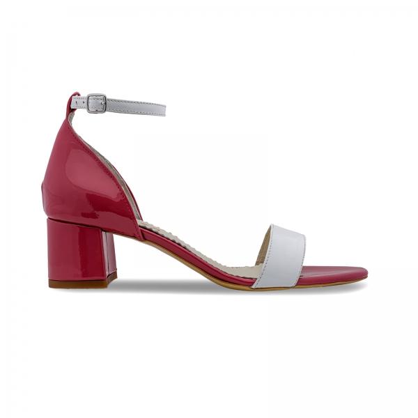 Sandale din piele lacuita alba si rosu visie 0