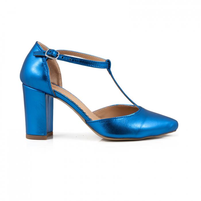 Pantofi stiletto din piele laminata albastra 0