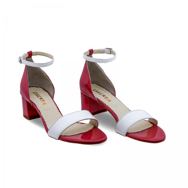 Sandale din piele lacuita alba si rosu visie 1