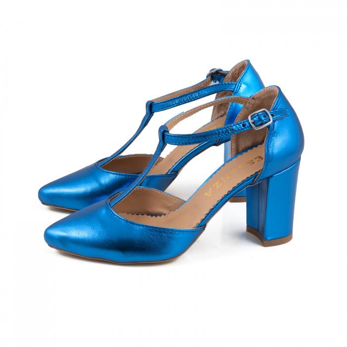 Pantofi stiletto din piele laminata albastra 1