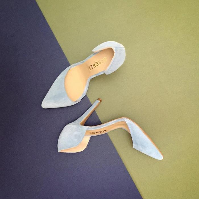 Pantofi stiletto cu decupaj, din piele naturala intoarsa albastru seren [0]