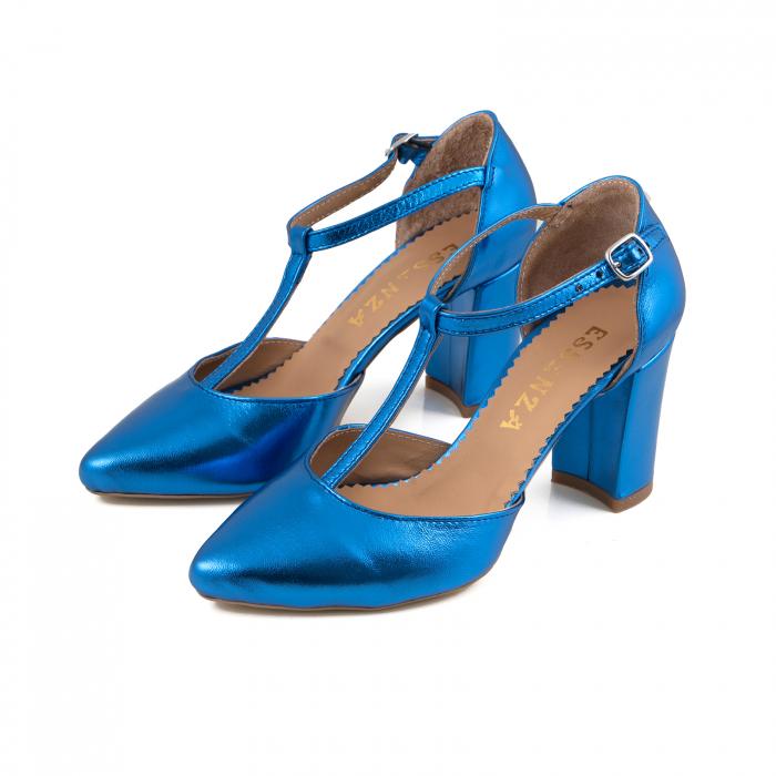 Pantofi stiletto din piele laminata albastra 2