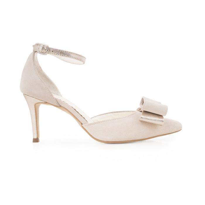 Pantofi stiletto cu funda dubla, din piele naturala bej si auriu pal 0
