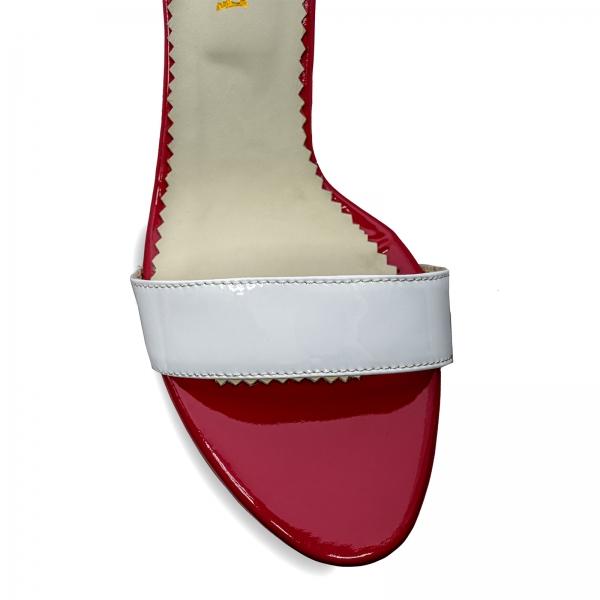 Sandale din piele lacuita alba si rosu visie 3