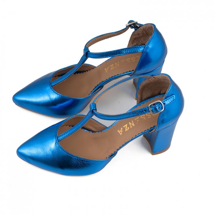 Pantofi stiletto din piele laminata albastra 3