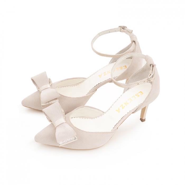 Pantofi stiletto cu funda dubla, din piele naturala bej si auriu pal 1