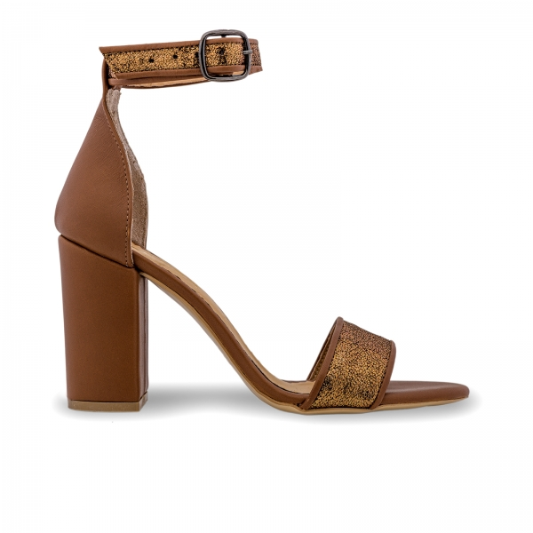 Sandale cu toc gros, din piele naturala maron si aurie [0]