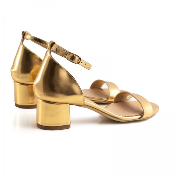 Sandale din piele laminata aurie, cu toc gros 2
