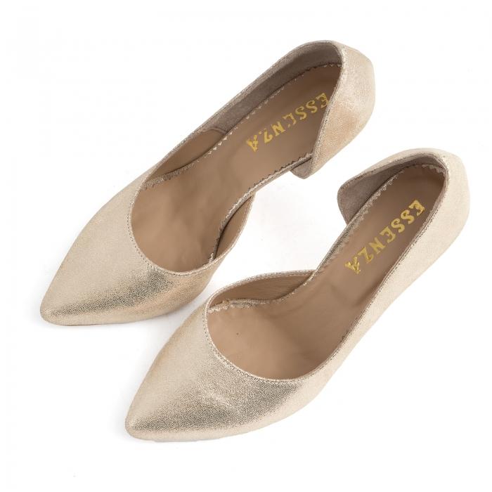 Pantofi stiletto din piele laminata, auriu texturat, cu decupaj interior 2