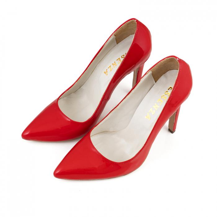 Pantofi Stiletto din piele lacuita rosie 2